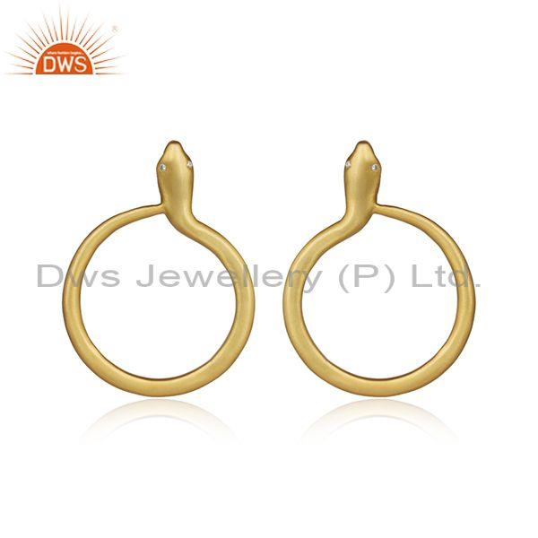 CZ Handmade Round Snake Gold On 925 Silver Antique Earrings