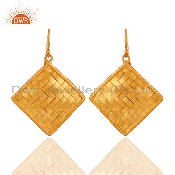 24K Gold Plated Sterling Silver Matte Finished Celtic Creativity Woven Earrings