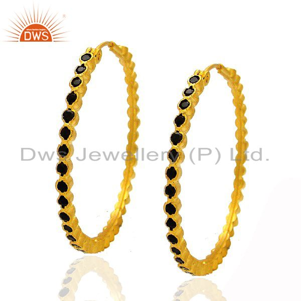 22K Yellow Gold Plated Sterling Silver Smoky Quartz Gemstone Hoop Earrings