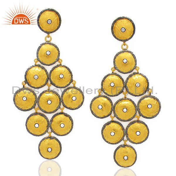18K Yellow Gold Plated Sterling Silver Multi Disc Chandelier Earrings With CZ