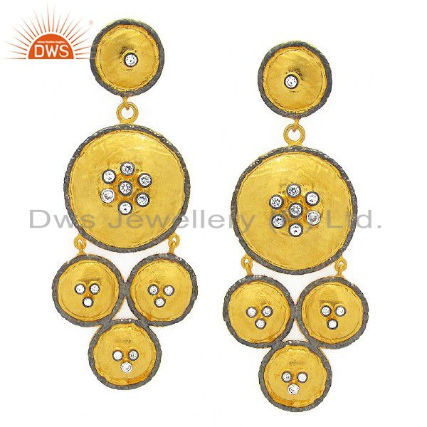 22K Yellow Gold Plated Brass Cubic Zirconia Hammered Disc Chandelier Earrings