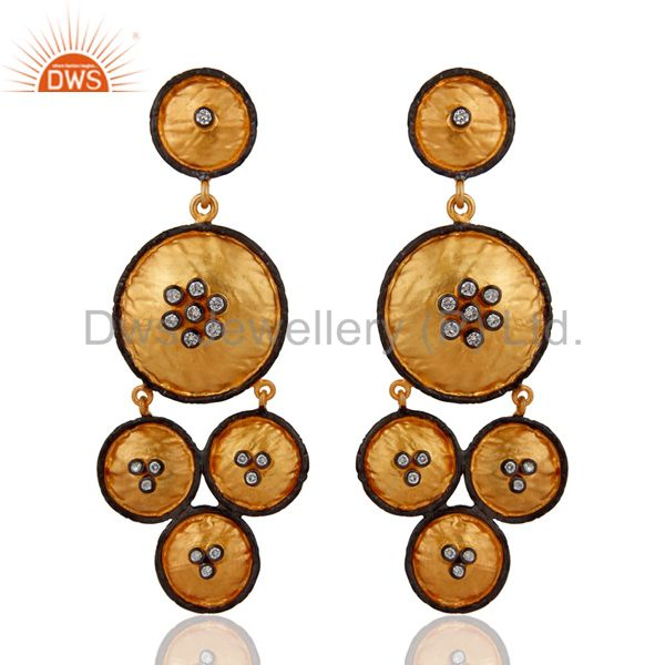 Glamorous 925 Sterling Silver Gold Plated Cubic Zirconia Bridal Fashion Earrings