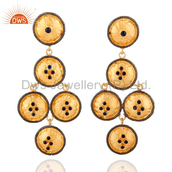 925 Sterling Silver 24k Gold Plated Blue Sapphire Round Chandelier Earring