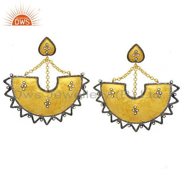 22K Yellow Gold Plated Sterling Silver Cubic Zirconia Womens Dangle Earrings
