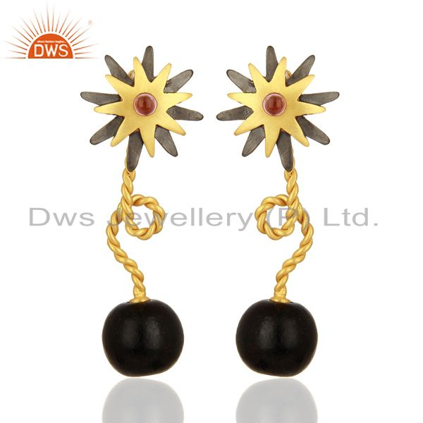 22K Yellow Gold Plated And Oxidized Brass CZ Twisted Wire Post Stud Earrings
