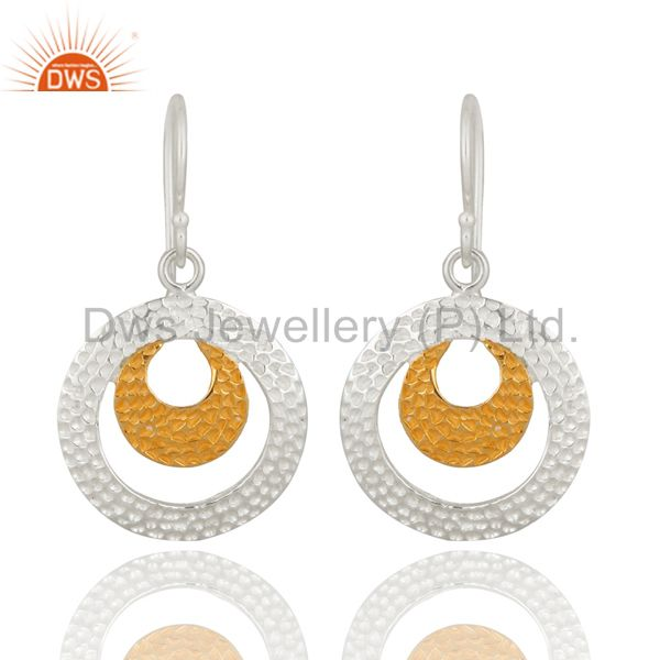 Sterling Silver 925 Solid Hand Hammered Round Circle Dangle Earrings For Women