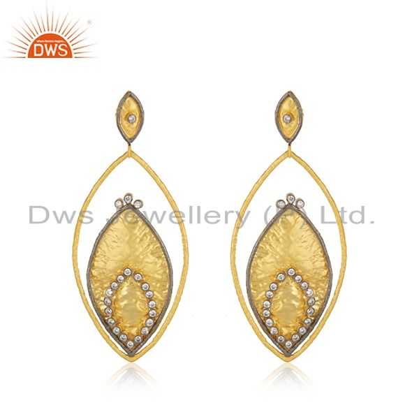 24K Yellow Gold Plated Brass Cubic Zirconia Womens Fashion Dangle Earrings