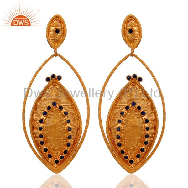 Handcrafted Sterling Silver Gold Plated Blue Sapphire Gemstone Dangle Earrings
