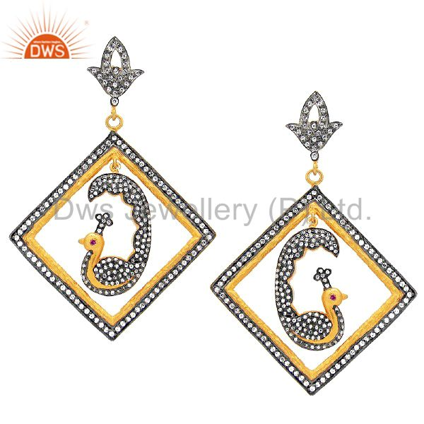 18K Yellow Gold Plated Sterling Silver Cubic Zirconia Peacock Dangle Earrings