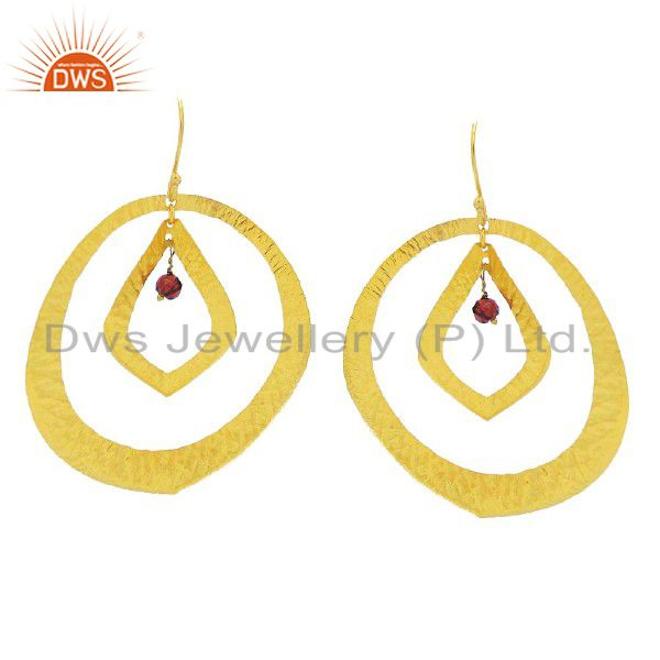 24K Yellow Gold Plated Sterling Silver Garnet Gemstone Designer Dangle Earrings
