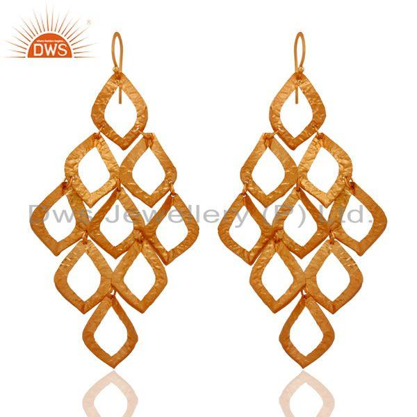 Hand Hammered 925 Sterling Silver Chandelier Earring With 24-karat Gold Plated