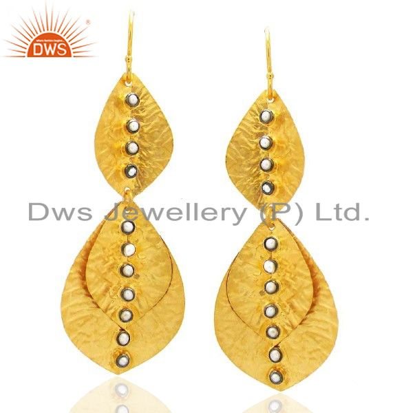 Handmade 22K Yellow Gold Vermeil Leaves Dangle Earrings With Cubic Zirconia