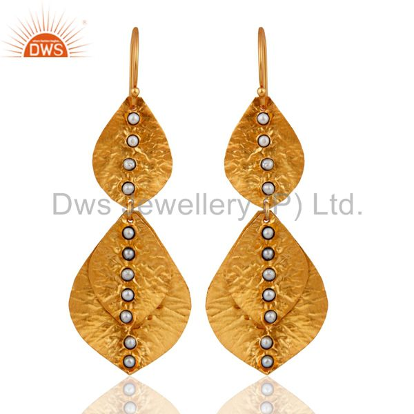 Handmade Sterling Silver 18K Yellow Gold Plated Natural Pearl Designer Earrings