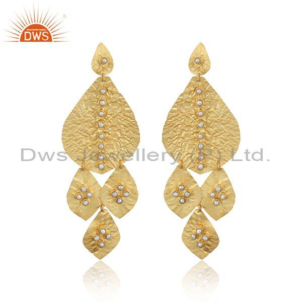 Leaf Textured Handmade Yellow Gold on Fashion Bold Earring