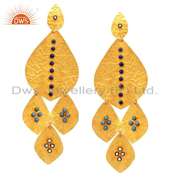 22K Gold Plated Sterling Silver Turquoise Hammered Petals Chandelier Earrings