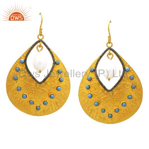22K Yellow Gold Plated Sterling Silver Turquoise And Pearl Teardrop Earrings