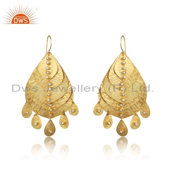 Leaf Textured Handmade Design Gold on Fashion Pearl Earring