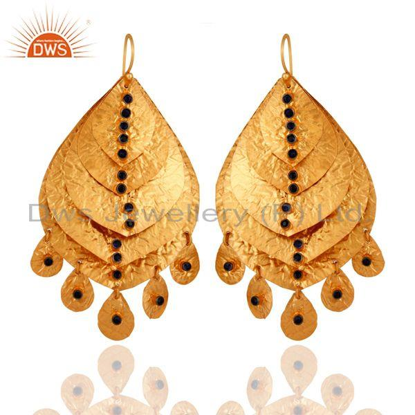 18K Gold Plated 925 Sterling Silver Blue Sapphire Gemstone Designer Earrings