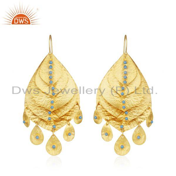 Handmade Gold Plated 925 Silver Turquoise Stone Leaf Earrings Supplier