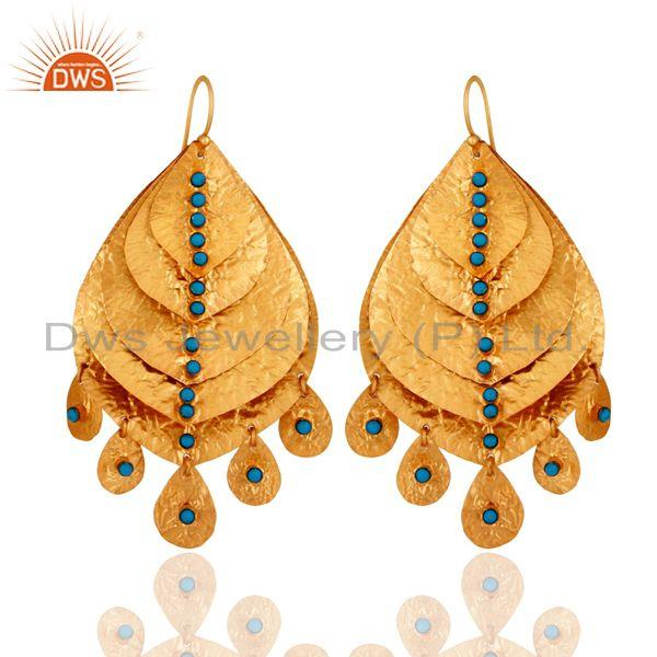 Handmade Turquoise Gemstone 18K Gold Plated Sterling Silver Chandelier Earring
