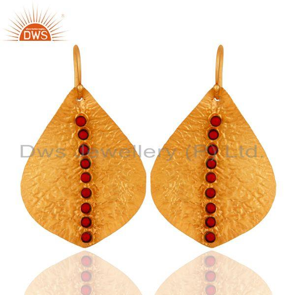 texture coral Earring,92.5 handmade Texture Earring,Gold Plated Earring