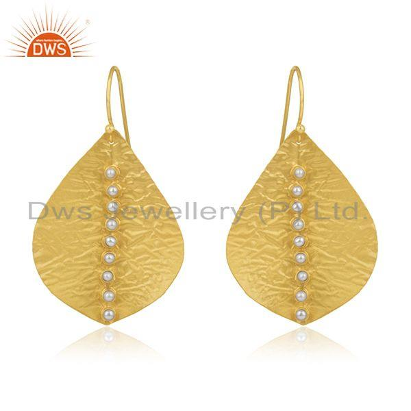 Natural Pearl 925 Silver Gold Plated Leaf Design Earrings Manufacturer