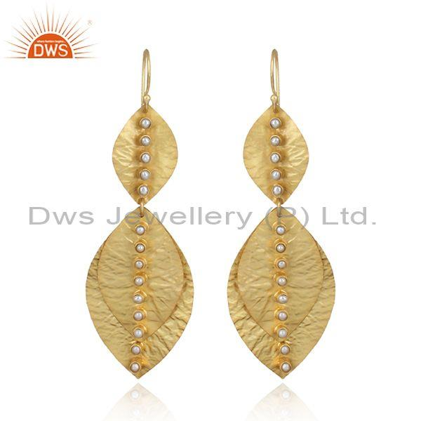 Handtextured Leaf Designer Gold on Fashion Pearl Dangle