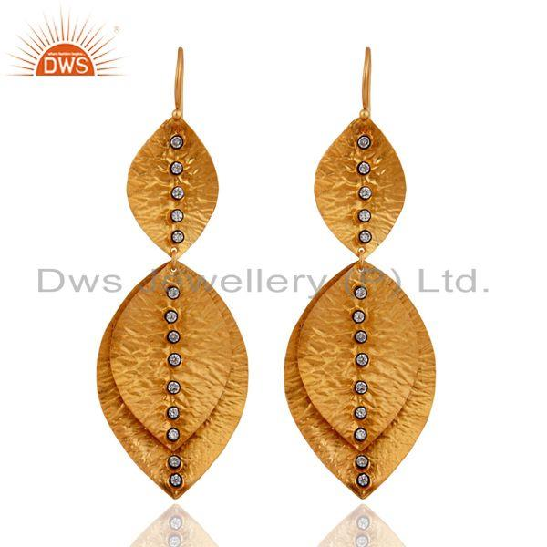 Handmade 925 Sterling Silver Cubic Zirconia Designer Earrings With Gold Plated