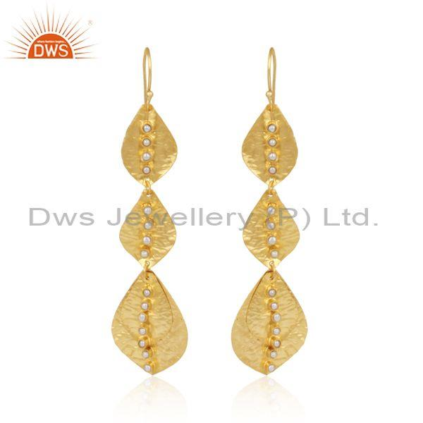 Leaf Textured Handmade Gold on Fashion Pearl Dangle Earring