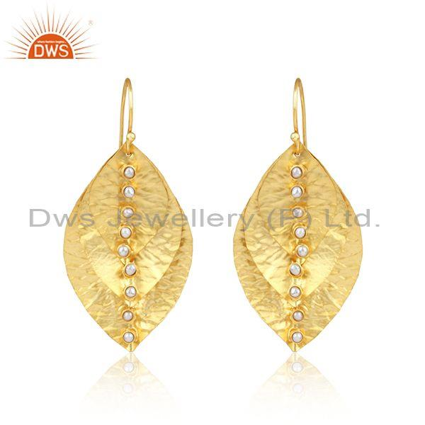 Handmade Leaf Design Yellow Gold on Fashion Pearl Earrings