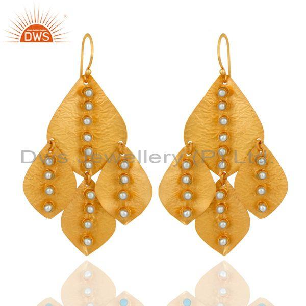 Traditional design handmade gold on fashion pearl bold earring