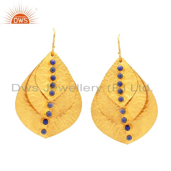 18K Gold Plated Sterling Silver Lapis Lazuli Hammered Petals Dangle Earrings