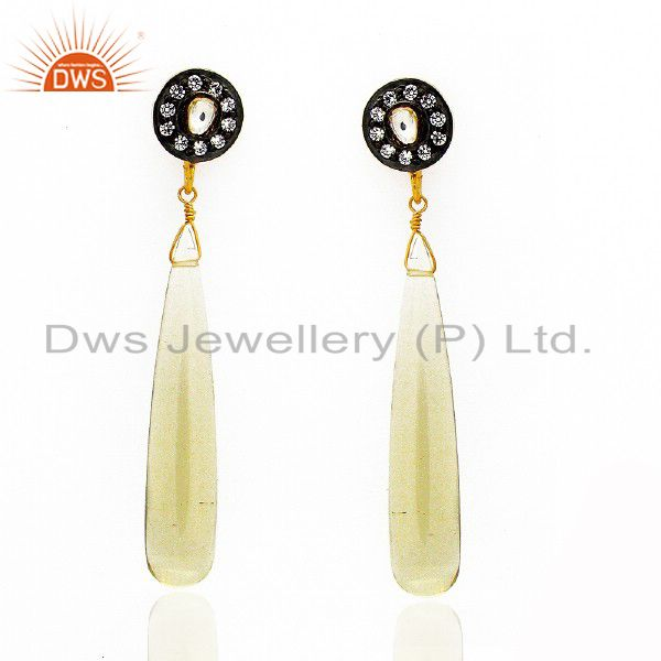 18K Yellow Gold Plated Sterling Silver Lemon Topaz Smooth Drop Earrings With CZ