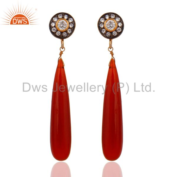 Gold Plated Sterling Silver Stunning Cubic Zirconia CZ Red Onyx Teardrop Earring