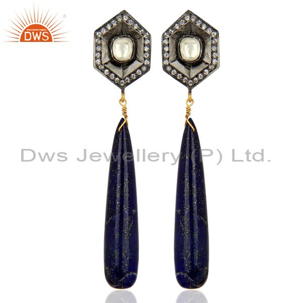 18K Yellow Gold Plated Sterling Silver Lapis Lazuli Smooth Drop Earrings With CZ