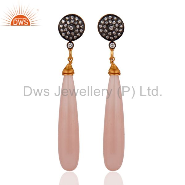 Gorgeous Gemstone CZ & Chacedony Teardrop Earrings in 24k Gold Over 925 Silver