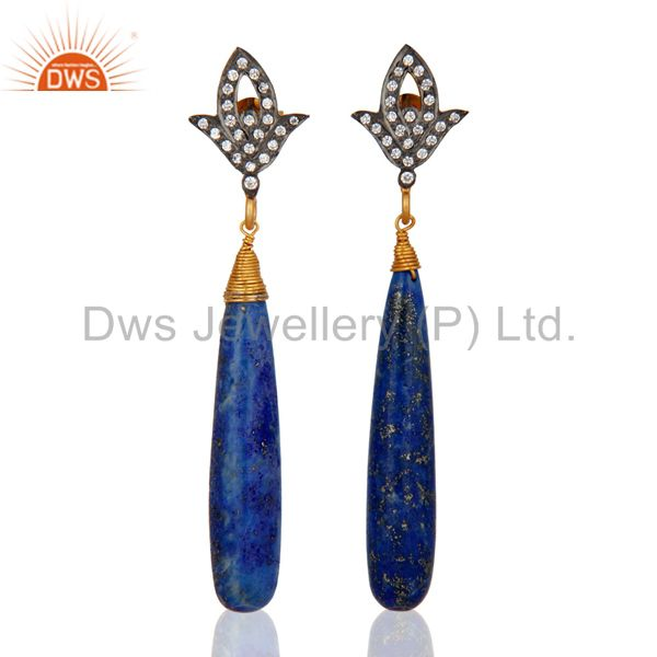 Handmade Natural Lapis Lazuli 925 Sterling Silver Gold Plated Earrings