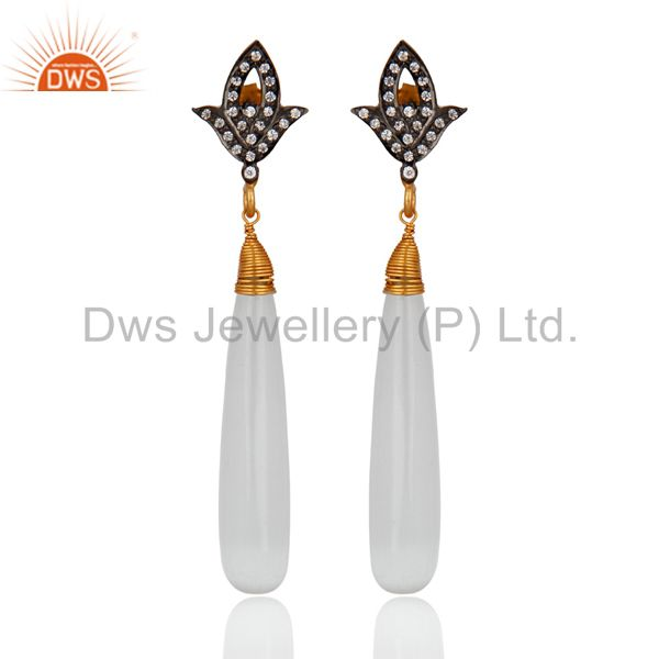 18k Gold Over 925 Sterling Silver White Moonstone Polished Drop Dangle Earrings