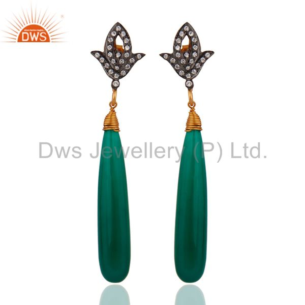 925 Sterling Silver White Cubic Zirconia Gold Plated Green Onyx Drop Earrings