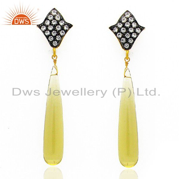 18K Yellow Gold Plated Sterling Silver Lemon Topaz Smooth Pencil Earring With CZ