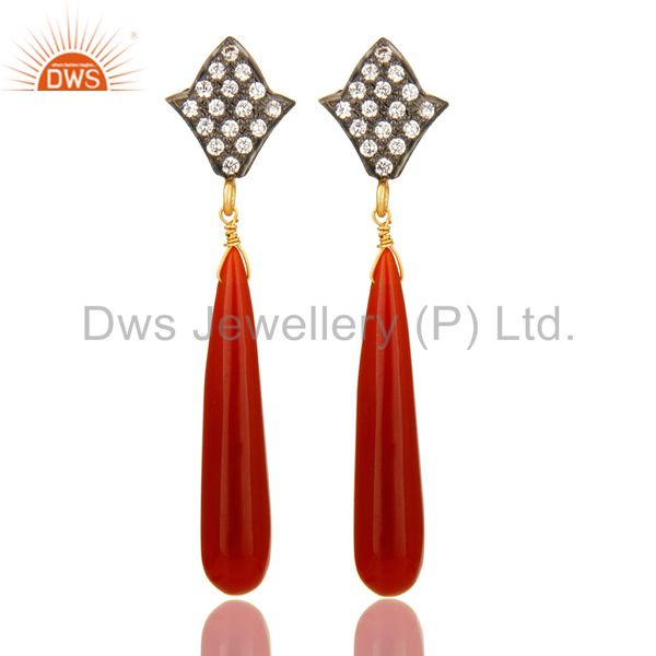 14K Yellow Gold Plated Sterling Silver Red Onyx Drop Dangle Earrings With CZ