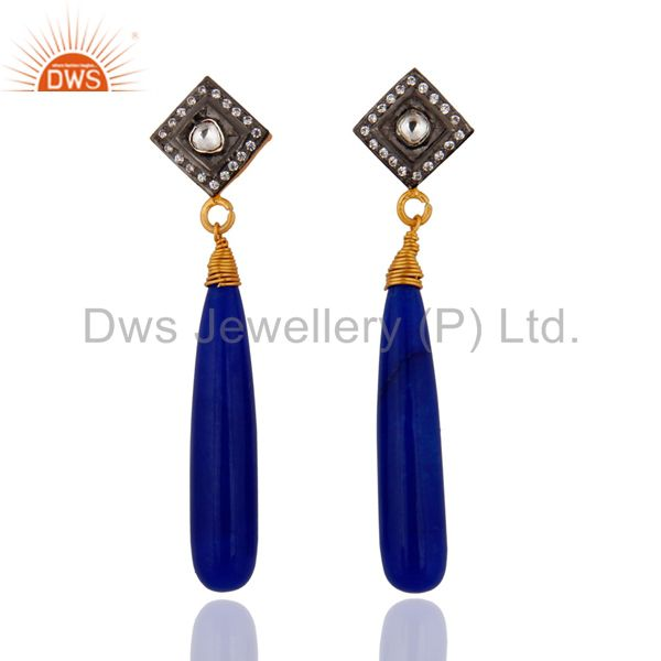 Pave White Cubic Zirconia & Blue Aventurine Gold Plated Sterling Silver Earring