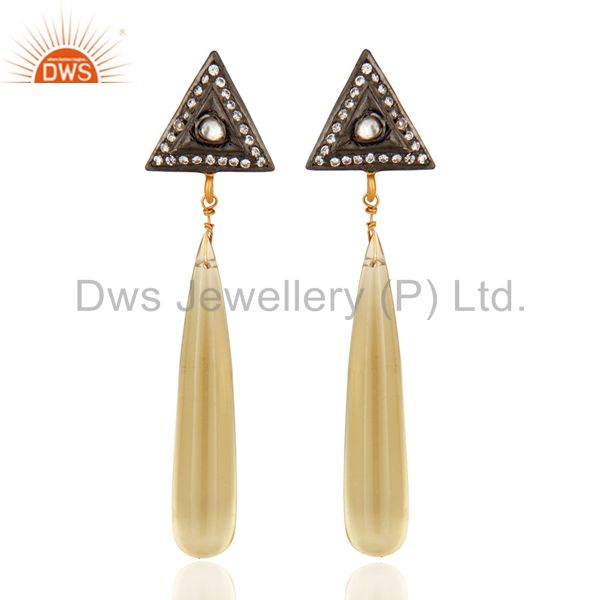 18K Gold Over Sterling Silver Lemon Topaz Polished Pencil Drop Earrings With CZ