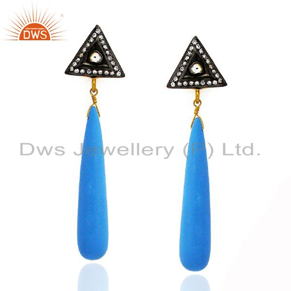 18K Yellow Gold Plated Sterling Silver Turquoise Smooth Pencil Earrings With CZ