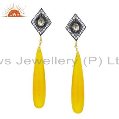 18K Gold Plated Sterling Silver Yellow Chalcedony And CZ Polki Dangle Earrings