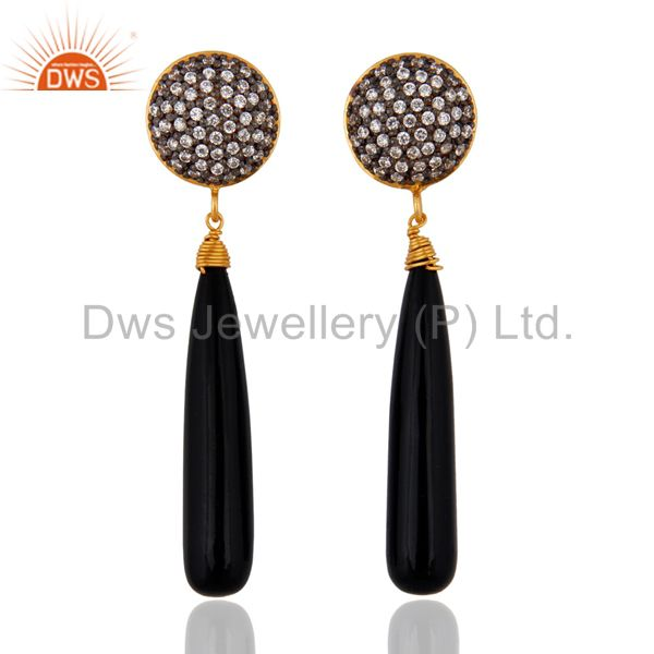 Sterling Silver Black Onyx Earrings With 18k Gold Plated White Zircon Jewelry