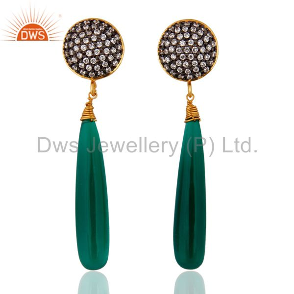 18Kt Gold Plated Green Onyx Teardrop Earrings Made in Sterling Silver Jewelry