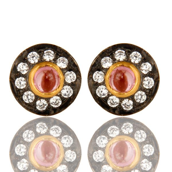14k Gold Plated Hydro Pink And Zircon Stud Brass Earring