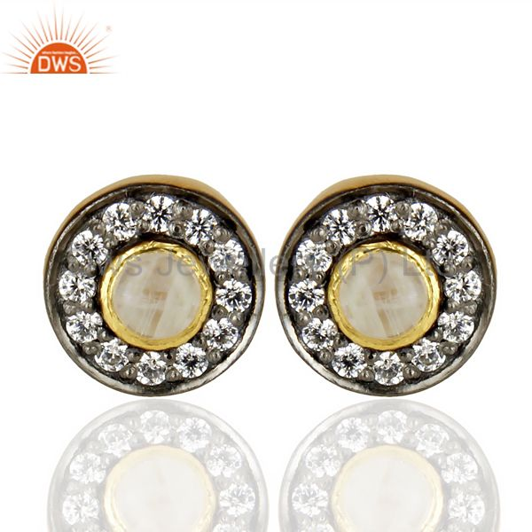 18k Gold Plated Rainbow Moonstone And Zircon Stud Brass Earrings