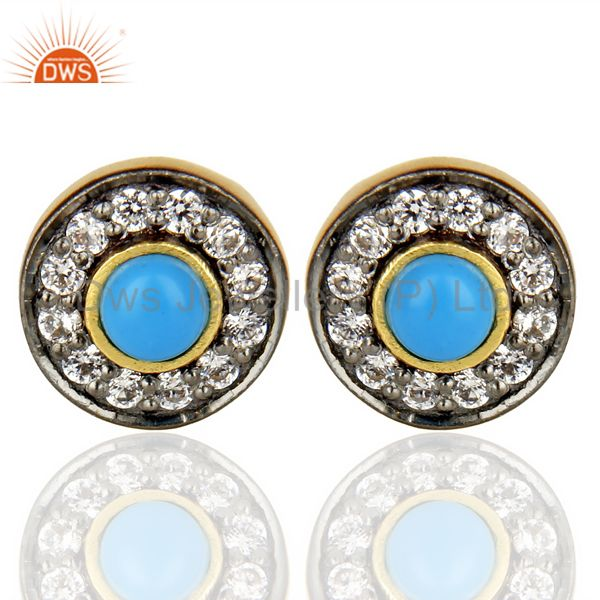 18K Yellow Gold Plated Turquoise And Zircon Halo Stud Brass Earrings